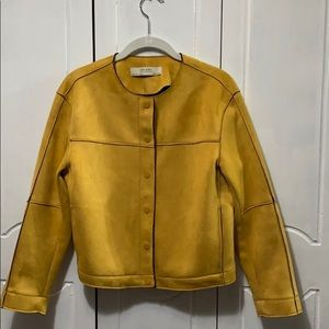 Zara Basic Outerwear Jacket faux suede Gold Small